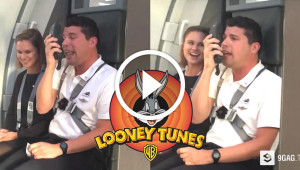 Flight Attendant Gives Instructions To Passengers In As Bugs Bunny And Other Looney Tunes Characters