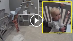 Big Brother Helps Little Brother Escape from Crib, But Baby's Mischievous Expression Wins the Internet
